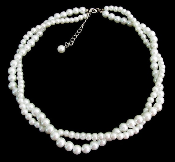 White Pearl Twisted Necklace Double Strand Necklace Wedding Bridal White Pearl Necklace Free Shipping In USA
