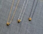 Tiny Brass Cube Necklace