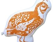 block print quail stuffie