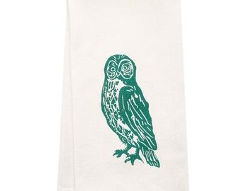 owl tea towel ORGANIC block print