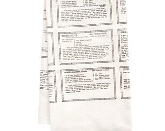 Retro Recipes entree organic tea towel