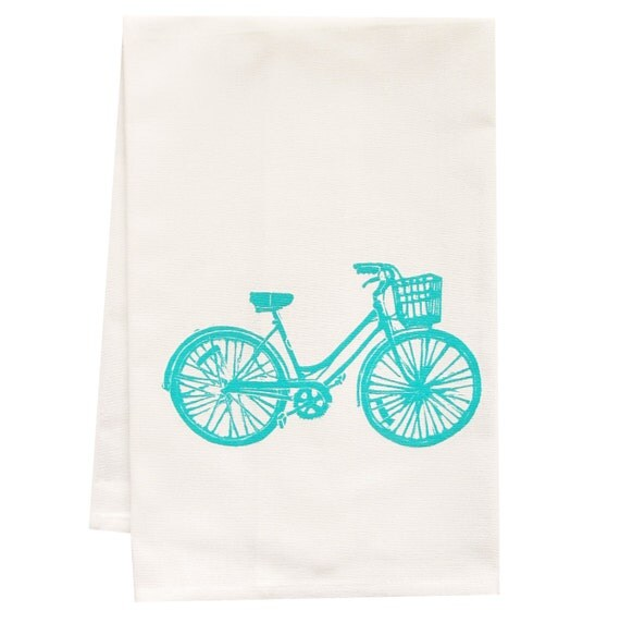 BLUE bike tea towel ORGANIC cotton