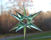 """Custom Order for Kathy Dudley, 3-D Beveled Green Cluster Star with Open Center Sun-catcher 13 1/2"""" X 10 1/2"""","""
