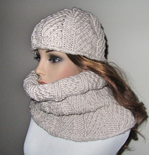 Items similar to Twisted Hat and Cowl PDF Knitting Pattern on Etsy