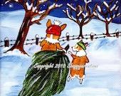 "PEMBROKE WELSH CORGI  Art Print  4"" X 4""  Christmas Snow Corgis  ""Bringing Home The Tree"" By Valerie Brock"