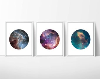Set of 3 Hubble Telescope Space Prints / Nebula Print / Galaxy Print / Universe Print / Circle Print / 5x7, 8x10, 13x19