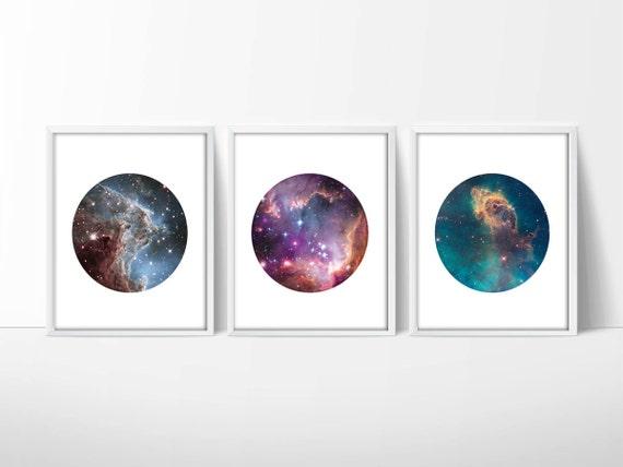 Set Of 3 Hubble Telescope Space Prints / Nebula Print / Galaxy