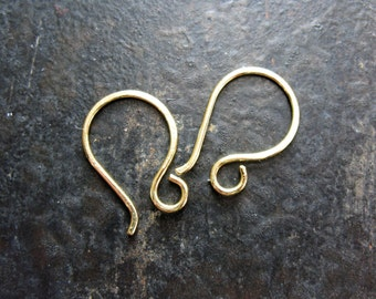 Small Bright Hammered Brass Ear Wires - 1 pair