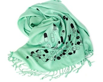 Hospital green Chill Pill scarf. Mint green Pill spill pashmina scarf. Perfect for doctors, nurses or pharmacists. More colors available!