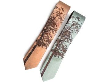 Aspen linen necktie. Silk linen blend men's tie. Chocolate brown print. Bias cut, rustic screenprinted tie. More colors available!