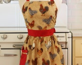 Retro Apron Chickens Roosters with Red - CHLOE