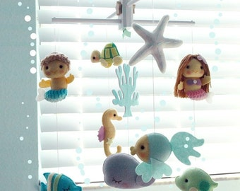 Free US Ship Musical Baby Mobile Mermaid Girl and Boy, Under the Sea Fish, Nautical, Ocean Theme Room, Crib Mobile, Modern Nursery Decor