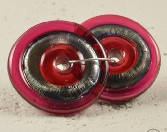 Handmade lampwork matching pair disc beads - Fuchsia and Metallic Black