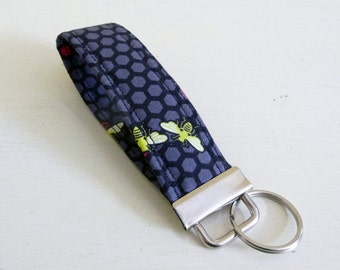 Honey Comb and Bees Key Fob, Handmade Cotton Key Chain
