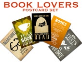 Book Lovers Art Postcards - 5 Bookworm Cards, Girls Who Love Reading, Smart Girl Artwork, Pen Pal Stationary, Coffee and Books