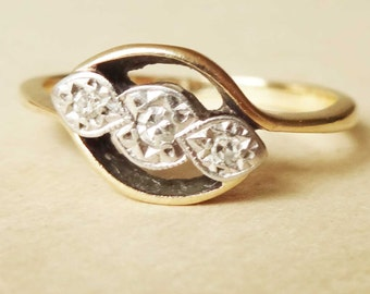 Art Deco Geometric Diamond Trilogy Ring, Vintage 9k Gold, Platinum and Diamond Engagement Ring Approx. Size US 5.5 / 5.75
