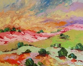 Original Landscape Painting Abstract or Impressionist Art Bright Sunrise Large Acrylic Painting on Canvas by Linda Monfort