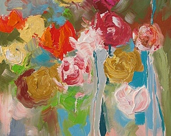 Original Floral Painting Abstract or Impressionist Art MADE TO ORDER Painting Commission Acrylic on Canvas by Linda Monfort