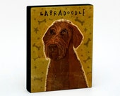 "Labradoodle Art Block 4"" x 5""- Dog Art Print- Labradoodle Print- Dog Wall Decor- Labradoodle Gifts for Him- Dog Gifts for Dog Lovers"