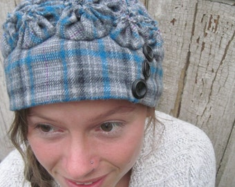 WINTER HAT cloche gray plaid with blue,black and a tiny magenta