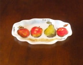 Frit Painted Glass Serving Dish Apples and Pear Handcrafted