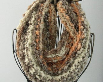 Brown and Tan Chunky Knit Infinity Scarf, Orange Accents, Bulky Knit Cowl