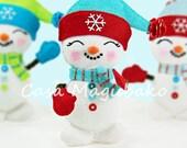 Felt Snowman Tutorial - Christmas Ornament Digital Pattern - Sewing Pattern - Instant Download PDF File