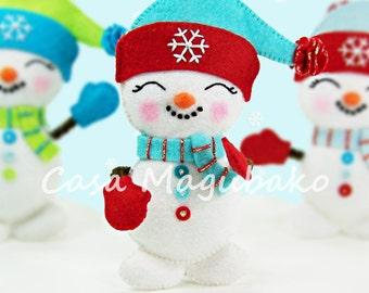 PDF Pattern - Snowman Ornament Felt Pattern - Christmas Ornament Sewing Pattern - Christmas Decoration - Felt Snowman Hand Sewing Project