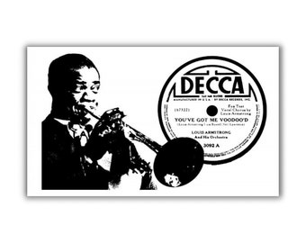 Louis Armstrong Magnet refrigerator fridge kitchen decor Blues voodoo record label classic jazz satchmo