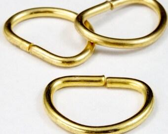 20mm Raw Brass D-Ring (10 Pcs) #2601