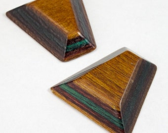 30mm Laminated Wood Trapezoid Cabochon (2 Pcs) #2988