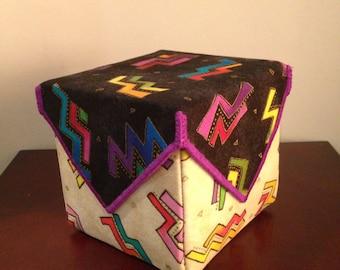 JEWELRY BOX, Laurel Burch fabric box, gift box, keepsake box, jewelry box with compartments, handmade, wish keeper