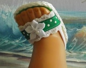 American Girl Doll Clothes Sandals Shoes Green Lace and Ribbon Medley