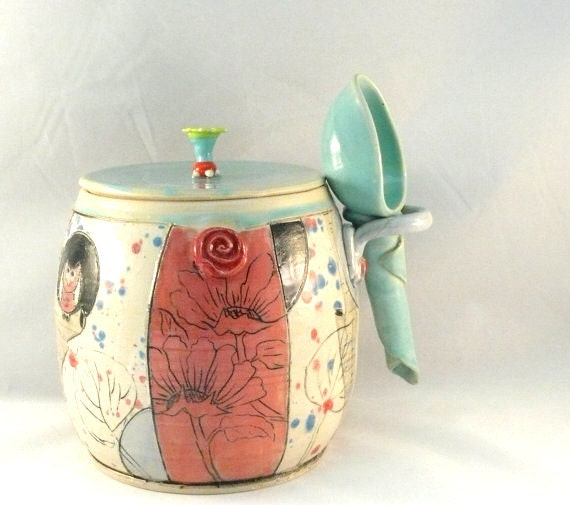 Ceramic canister with scoop / lidded kitchen storage jar for coffee, tea, pet food, sugar  IN STOCK