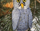 Great Gray Owl Felt Bird Ornament,embroidered, Home Decor