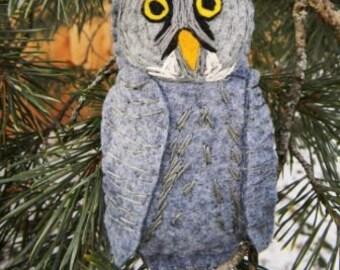 Great Gray Owl Felt Bird Ornament,embroidered, Home Decor
