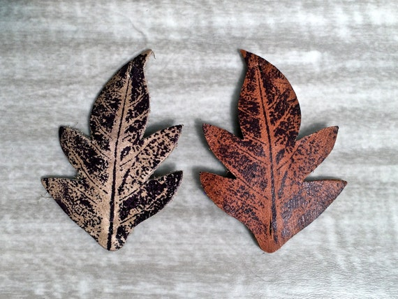Pair of Leafy Leather Barrettes Sienna Brown, Dusty Sage * SALE * Coupon Codes