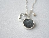 Druzy, heart and pearl necklace