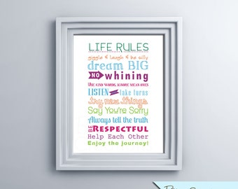 Life Rules Printable Wall Art by BitsyCreations Instant Download Subway Art Typography