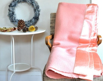 Vintage Wool Blanket Kenwood Pink Napped Fluffy & Thick