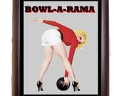 Bowling Pin Up Cigarette Case Bowler Pin-Up Girl Retro 1950's Kitsch Bowl-a-rama ID Business Card Credit Card Holder Wallet