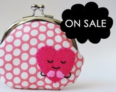 Coin purse pink heart kawaii heart kiss lock coin purse change purse valentine's day pink polka dots children hot pink