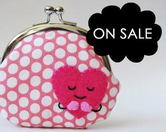 Coin purse pink heart kawaii heart kiss lock coin purse change purse valentine's day pink polka dots children hot pink