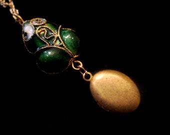 Little Ribbit - Cloisonne Frog Locket Necklace