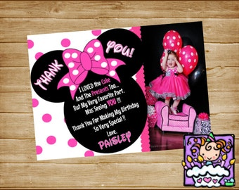 Personalized  Pink Printable Minnie Mouse Thank you Card