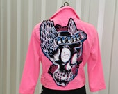 Hot Pink Jacket . Womens Small . Skull . Truth . Recycled . Upcycled . Hot Pink . Rockabilly . Punk . Goth . Psychobilly . Rocker Clothing