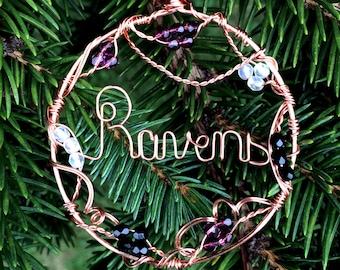 Baltimore Ravens Ornament Suncatcher Wire Written Copper Circle