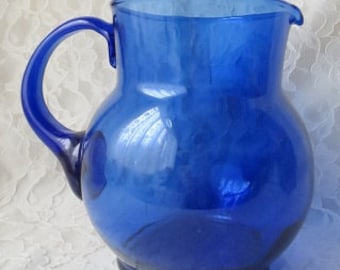 Vintage Cobalt Blue Blown Glass Large Pitcher with Applied Handle