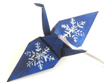Silver Snowflake on Midnight Blue Origami Crane Christmas Tree Ornament Holiday Decoration
