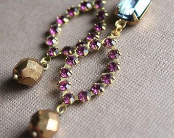 Antonia Earrings - Vintage Swarovski & Glass - Brass